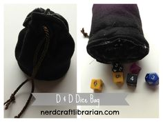 My husband and I have recently started playing Dungeons and Dragons with a group of friends. We have been having lots of fun on our fantasy filled adventures. My husband asked me if I could make some sort of drawstring bag for his dice. I went into my own dungeon of crafts and in about an hour I came back with this pretty awesome dice bag. The others in our group were pretty jealous but I plan on making them all their own pouches.
