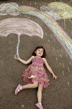 Sidewalk Chalk Props: Creative Photos Of Kids As Part Of Chalk Art###