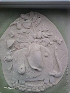 Картина панно рисунок Поделка изделие Лепка Слоники Гуашь Тесто соленое фото 5