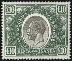 1922 Kenya £10 stamp auctions at $26,000 in New York