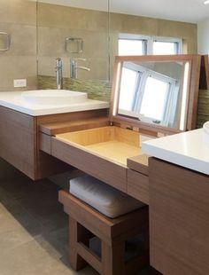 Old school hidden make up vanity built in the sink top