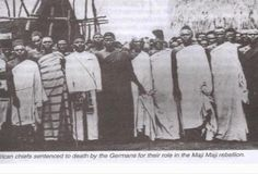 """dynamicafrica:  """"African chiefs sentenced to death by the Germans for their role in the Maji Maji rebellion"""" The Maji Maji Rebellion, lasting from 1905 to 1907, was an organized uprising initiated by several groups of African communities in the colonized territory of German East Africa against German colonial rule and German policy that forced them to grow cotton for export, profiting the German colonists. German colonial efforts in east Africa were initiated by the German Colonization…"""