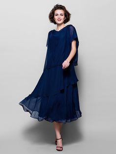 A-line Plus Sizes / Petite Mother of the Bride Dress - Dark Navy Tea-length Short Sleeve Chiffon - USD $89.99
