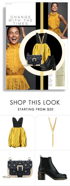 """""""Black and Gold"""" by thestrawberryfields ❤ liked on Polyvore featuring Oscar de la Renta, BERRICLE, RED Valentino, Miu Miu, blackandgold and RedValentino"""
