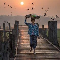 Sunrise at U bein bridge, Mandalay.    #instatravel #myanmar #burma #birmanie #amarapura #sunrise #birdwatching #longbridge #streetvendor #wanderlust #travelwithaninsider #southeastasia #mandalay #yangon #goldenrock #inlelake #picoftheday #follow4follow #bucketlist #igtravel #travelgram #myanmartravelphoto #lifestyle #travelaroundtheworld