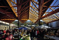 "Covered market and ""Garden of Sounds"", Tarare, Rhône, France"