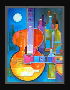 Abstracto arte cubista pintura al óleo guitarra música vino