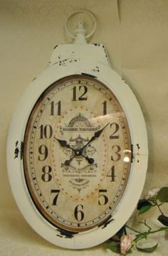 Large Shabby Chic French Cream Distressed Oval Pocket Style Wall Clock Trepointes Chaussons Four Seasons Liverpool http://www.amazon.co.uk/dp/B00C769D4O/ref=cm_sw_r_pi_dp_FqM6ub0X778C1