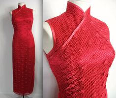 1950's Red Chinese Cheongsam // Vintage by WildWoodRoseVintage, $115.00