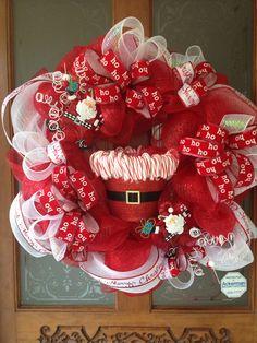 Deco Mesh Wreath - Santa & Candy Canes