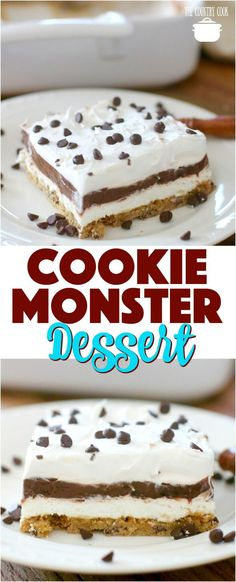 Cookie Monster Layered Dessert recipe from The Country Cook #desserts #easy #chocolate #pudding #cookies #chocolatechip #ideas #recipes