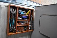 Under rear cabinet hidden storage space, create your own drawer.