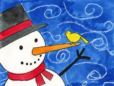 Windy Snowman | Art Projects for Kids. NEW PDF Tutorial available. #artprojectsforkids #howtodraw #snowman