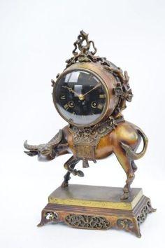 Seltene japanisch inspirierte Bronze Pendule Kaminuhr Uhrenträger um 1885