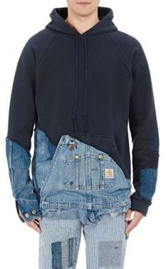 Greg Lauren Fleece & Denim Hoodie at Barneys New York
