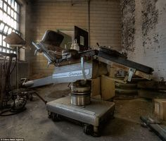 Terrifying: An operating table where patients were most likely subjected to electroconvulsive therapy which passed electric currents through their brains