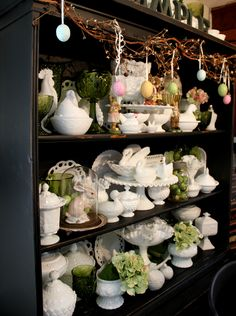 some of my milk glass ..spring /Easter display