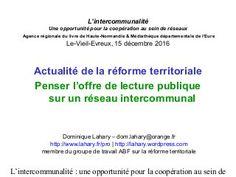 Actualité de la réforme territoriale : Penser l'offre de lecture publ…