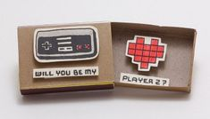 """Items similar to Geeky Proposal Card / Funny Love Card/ Gamer Love Card/ Matchbox/""""Will you be my Player on Etsy Nerdy Valentines, Valentine Day Cards, Funny Valentine, Matchbox Crafts, Matchbox Art, Funny Proposal, Funny Love Cards, Diy Cadeau, Cute Diys"""