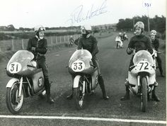 Starting line shot in the late at the Ulster Grand Prix. Two Mv Augusta's on the left are John Surtees and the late John Hartle. Rider on the right unknown but looks like a BMW machine. Indian Motorcycles, Triumph Motorcycles, Vintage Motorcycles, Mv Agusta, Motocross, Bobber, Ducati, Mopar, Biker Photos