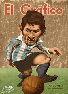 Vintage Caricature of Messi/El Grafico Magazine Argentina - Football Caricatures and Illustrations by Gonza Rodriguez, via Behance