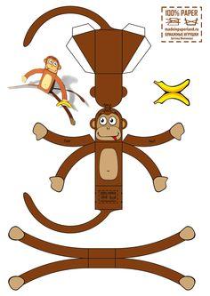 Выкройка обезьяны из бумаги