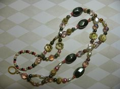 Green Peach Gold and Ivory Lanyard by Alisonsjewelryshop on Etsy, $21.98