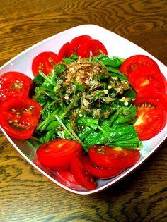熱したごま油をジュッと   かつお節めがけて - 36件のもぐもぐ - 水菜とオクラのサラダ by morinnorin2