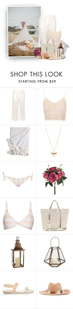 """Boho Beach Date"" by hollowpoint-smile ❤ liked on Polyvore featuring Zimmermann, Theodora Warre, Solid & Striped, Vanessa Bruno, Elements, Ancient Greek Sandals, Filù Hats and Isabel Marant"