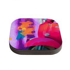 """Oriana Cordero """"Vespa II"""" Pink Purple Coasters (Set of 4)"""