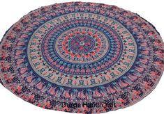 Elephant Mandala Round Tapestry Throw Hippie Beach Blanket Yoga Mat Cotton Multi #Handmade #Traditional #BeachThrowYogaMatTableCoverWallHanging