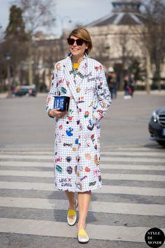 cute coat. #ElisaNalin in Paris.