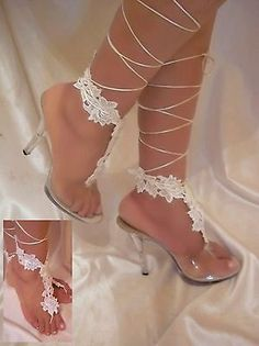 White Flower Lace Up The Leg Barefoot Sandals, Wedding Sandals, Beach Bride Wear - EXCLUSIVE DEAL! BUY NOW ONLY $25.0