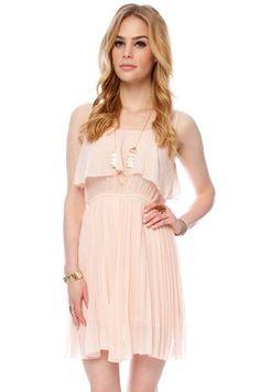 Brea Pleated Tank Dress in Peach $42 at www.tobi.com ---Bridesmaids Dress---
