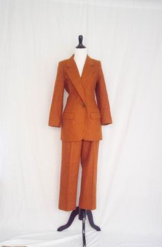 Vintage 1970's 'Who's The Boss' Burnt Sienna Lady's Oleg Cassini Wool Pantsuit Size M by BeehausVintage on Etsy