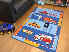 80cm x 120cm Rugs Supermarket Kids Non Slip Machine Washable Butterflies Play Mat Available in 4 Sizes