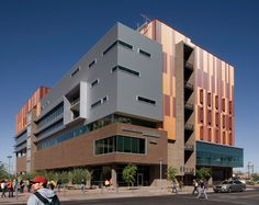 Image 1 of 17 from gallery of Arizona State University Walter Cronkite School of Journalism & Mass Communication / Ehrlich Yanai Rhee Chaney Architects. Photograph by Bill Timmerman Hdr Architecture, University Architecture, Shop Facade, Downtown Phoenix, Arizona State University, Mass Communication, Building Exterior, Industrial House, Architectural Digest