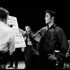 behind the scenes at Elvis's fist appearance on the Ed Sullivan Show (1956). (Photo: CBS Photo Archive/LIFE.com)