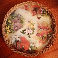 Vintage tea tray, Wicker gallery tea tray, Vintage melamine tea tray Woodland animal serving tray kitch country kitchen tea tray kitchenalia