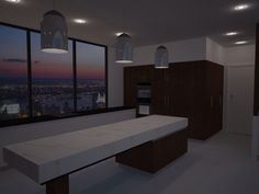 Modern open living kitchen with marble bench tops and concrete floor for a small apartment.