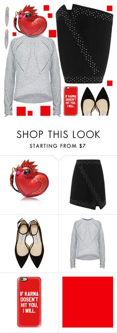 """""""OOTD:  Black/Grey/Red"""" by petalp ❤ liked on Polyvore featuring MCM, Exclusive for Intermix, Jimmy Choo, 3.1 Phillip Lim, Casetify, Sally Hansen, St. John and ootd"""
