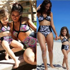 Family Match 2017 Mother Daughter Swimsuit Sexy Women Floral High Waist Bikini Toddler Mom Kid Girl Bathing National Style 2pcs Boho Swim Suits, Girls Bathing Suits, Mother Daughter Dresses Matching, Matching Family Outfits, Two Piece Swimsuits, Women Swimsuits, Haut Bikini, Bikini Set, Monokini Swimsuits