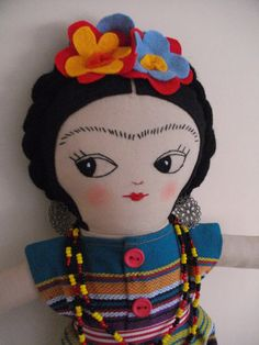 FRIDA KAHLO Art Doll Handmade plush toy original Rag doll cloth doll plushie