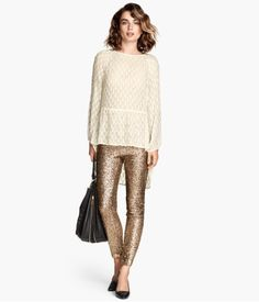 Gold Sequin Pants from H&M - I NEED to try these on because if they aren't terribly uncomfortable I have found half of my New Years outfit