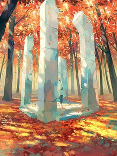 """names unheard, spells unwoven"" Landscape Concept, Fantasy Landscape, Landscape Art, Fantasy Art, Japon Illustration, Digital Illustration, Landscape Drawings, Landscapes, Environment Concept Art"