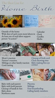 "Home Birth Photography Shot List - minus all the ""clock"" shot.  Having no sense of time while in labour is the best!"