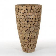 TEAK LARGE vase teak unfinished fronts. #Cravt #DKhome #Craftsmanship #Living #Vases #Luxuryfurniture