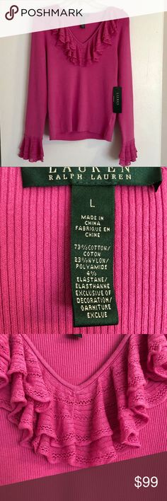 "Gorgeous Lauren Ralph Lauren Sweater Pink NWT This beautiful sweater has ruffles at collar, chest and cuffs.  Perfect to wear for Spring, especially holidays like Easter.   Shoulder to shoulder 17"" Arm Length 25"" Pit to pit 16"" Height 23""  This sweater has a lot of width stretch to it.  Color is most similar to the close up of front ruffles. Lauren Ralph Lauren Sweaters V-Necks"