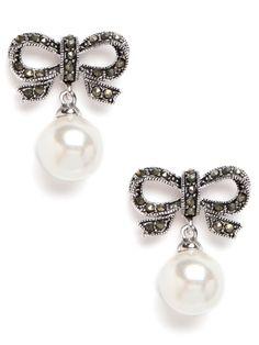 Bow Pearl Drops Earrings