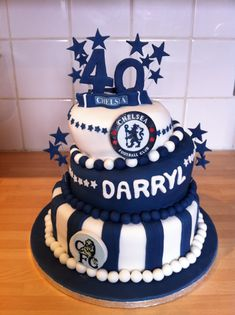 Chelsea Football Club 3 Tier Birthday Cake